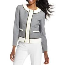 Anne Klein Blazer Sz 0 Onyx Labaster Black Textured Business Career Blaz... - $59.35