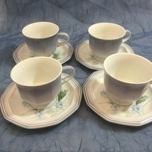 4 Mikasa Country Place BLUE STAR FR501 Coffee Tea Cup Saucer No Utensil marks - $18.80