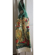 Set of Two Kitchen Towels with Crocheted Top - Bottles of Oil and Peppers - $8.00