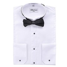 Berlioni Italy Men's Tuxedo Dress Shirt Wingtip & Laydown Collar With Bow-Tie (L