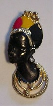 "Nubian Princess Pendant Enamel 2"" Black Red Yellow Gold Pre-owned Unbranded - $19.75"