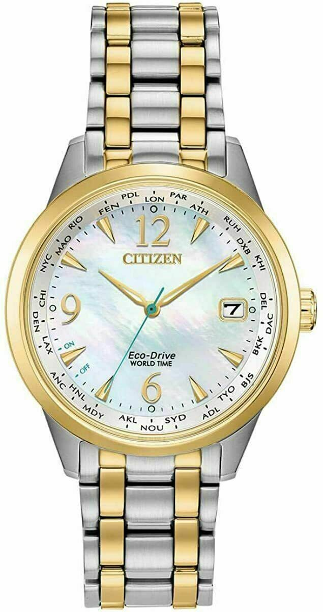 -NEW- Citizen Ladies World Time Eco-Drive Watch FC8004-54D