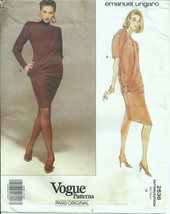 Vogue 2536 Emanuel Ungaro Pattern Draped Jersey Dress w/ Bias Overlay199... - $14.95