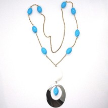 SILVER 925 NECKLACE PINK, AGATE WHITE UNDULATED, TURQUOISE, OVAL PENDANT, 75 CM image 2