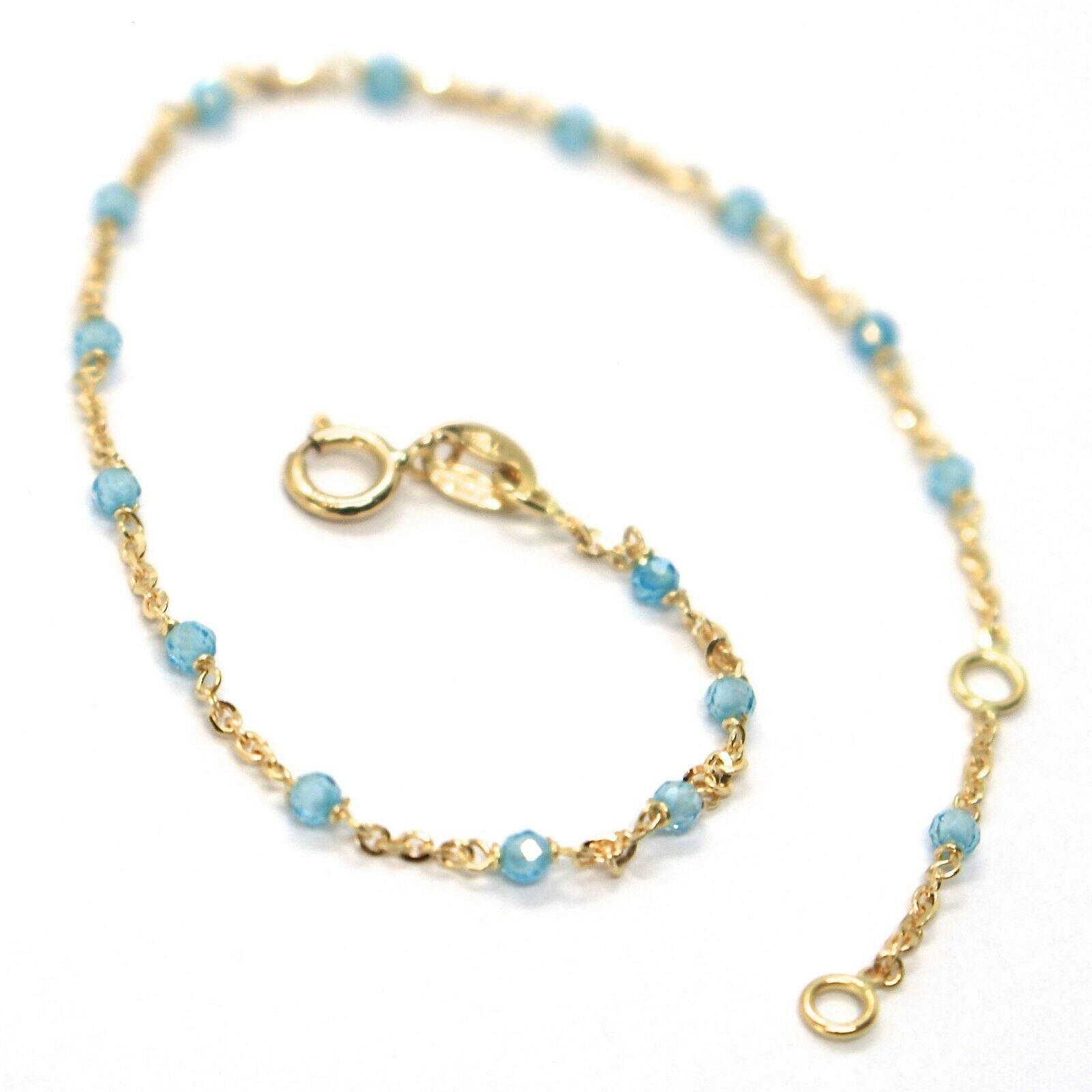 18K YELLOW GOLD BRACELET, AZURE FACETED CUBIC ZIRCONIA, ROLO CHAIN, 6.9 INCHES