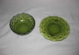 """Neat Vintage 4 1/2"""" Bowl And 6"""" Plate Green Indiana Glass Thumbprint - $38.52"""