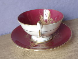 RARE Vintage 1950's Aynsley English bone china red and gold birds tea cup teacup image 6