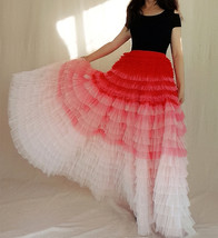 Bridal Tiered Tulle Skirt Outfit A-line Full Tulle Wedding Party Skirt,Red white image 4