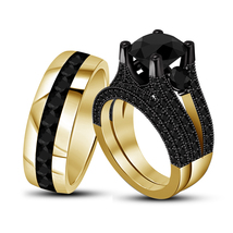 Black Diamond Womens Engagement Ring & His Her Band Trio Set in 925 Soli... - $152.99