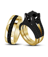 Black Diamond Womens Engagement Ring & His Her Band Trio Set in 925 Soli... - £94.34 GBP
