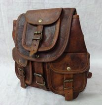 Vintage Men's Goat Leather Brown Small Backpack Bag rucksack Shoulder Sc... - $42.97