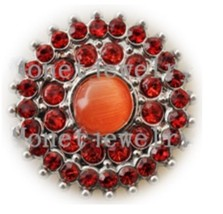 Orange Rhinestone Burst  20mm Snap Charm Interchangeable Fits Ginger Snaps - $6.19