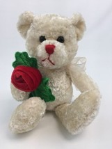 """Teddy Bear Dan Dee Collectors Choice 10"""" Inch Beige Holds Red Rose Mothers Day - $19.60"""
