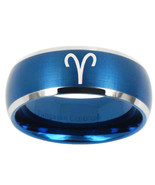 Aries Zodiac 8mm Brushed Blue Dome Tungsten Carbide Ring - $43.99