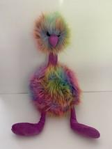 "JELLYCAT LONDON Rainbow Pom Pom Bird Plush Fluffy Large 21"" Ostrich Mult... - $37.95"