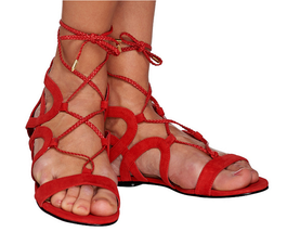 Marc Fisher Suede Lace-up Sandals - Kapre Dark Red 9M - $39.59