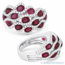 3.59 ct Oval Cut Red Ruby & Diamond Pave 18k White Gold Right-Hand Fashion Ring - $3,603.59