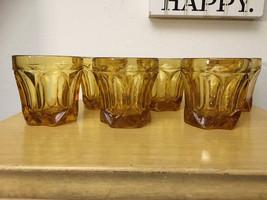 Anchor Hocking Fairfield Pattern, Amber Rocks Glasses Drinkware (6) Barware - $35.00