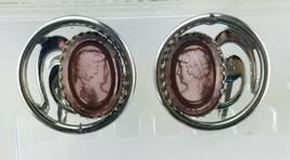 Crown Trifari Intaglio Purple Glass Cameo Clip On Earrings  - $27.37