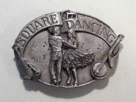 VINTAGE SQUARE DANCING PEWTER TONE BELT BUCKLE 1985 SISKIYOU DANCERS - $9.26