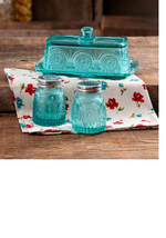 The Pioneer Woman Adeline Glass Butter Dish with Salt And Pepper Shaker Set - $27.41