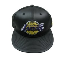 New Era 59Fifty NBA Los Angeles Lakers Black Faux Leather Fitted Hat 7 1/4 - $29.65
