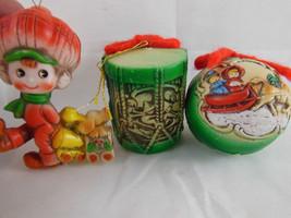 Vintage Christmas Ornaments Made in Japan Flexible Plastic? Vinyl? Multi Colored - $14.84