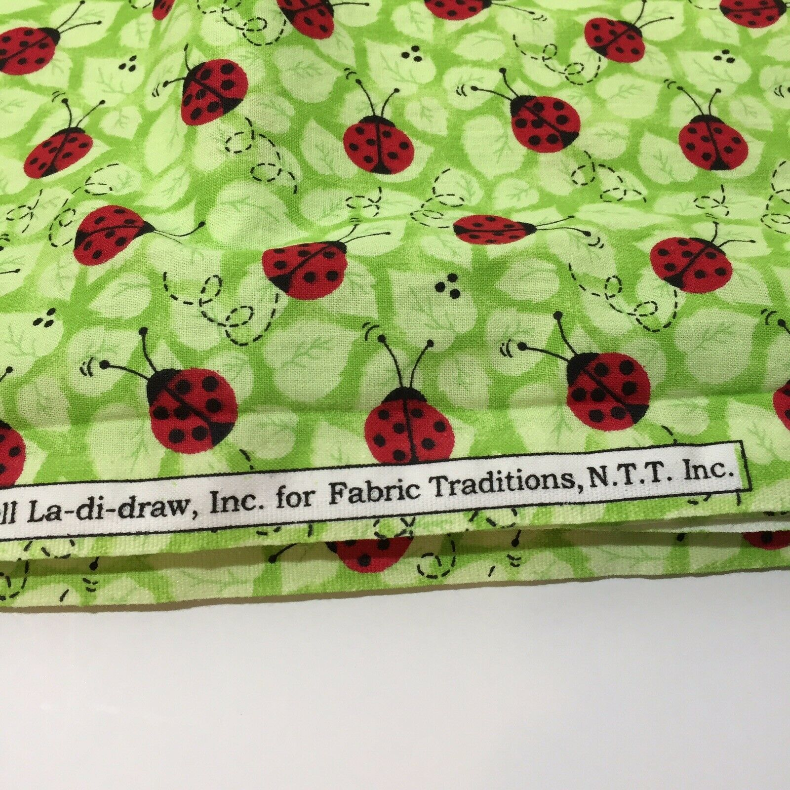 "2 & 7/8 Yards Charms Patty Reed Designs Fabric 42""w 100% Cotton Ladybugs"