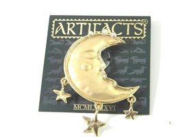 JJ Man in the Crescent Moon with Stars Vintage Brooch Pin - $19.49