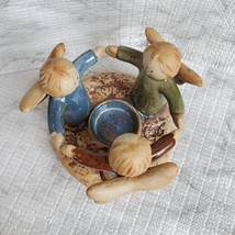 Tealight Candle Holder, Circle of Angels, Pray for Peace, Vintage Earthenware image 8
