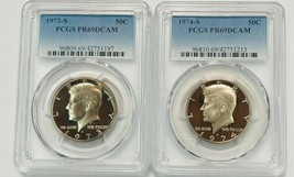 1973-S  and 1974-S  Kennedy 50c  PCGS PR69DCAM (2 Coin Set) - $32.75