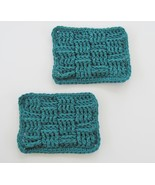 Absorbent Cotton Teal Blue Soap Saver Dishes, Bathroom Decor Gift Set of 2 - $9.99