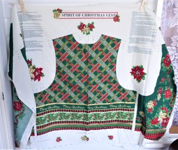 Spirit Of Christmas Vest Fabric Panel Cut And Sew Xmas Holly Roses Plaid Gold - $18.00
