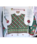 Spirit Of Christmas Vest Fabric Panel Cut And Sew Xmas Holly Roses Plaid... - $18.00