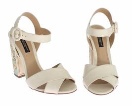$843 Dolce & Gabbana Women White Leather Majolica Print Sandals Shoes Sz US 4.5 - $340.96