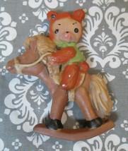Vintage Teddy Bear RIDING ROCKING HORSE  Christmas Tree Ornament - $3.15