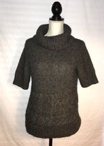 Ann Tayor LOFT Sweater, Size Large, Gray, Short Sleeve, Cowl Neck - $18.99