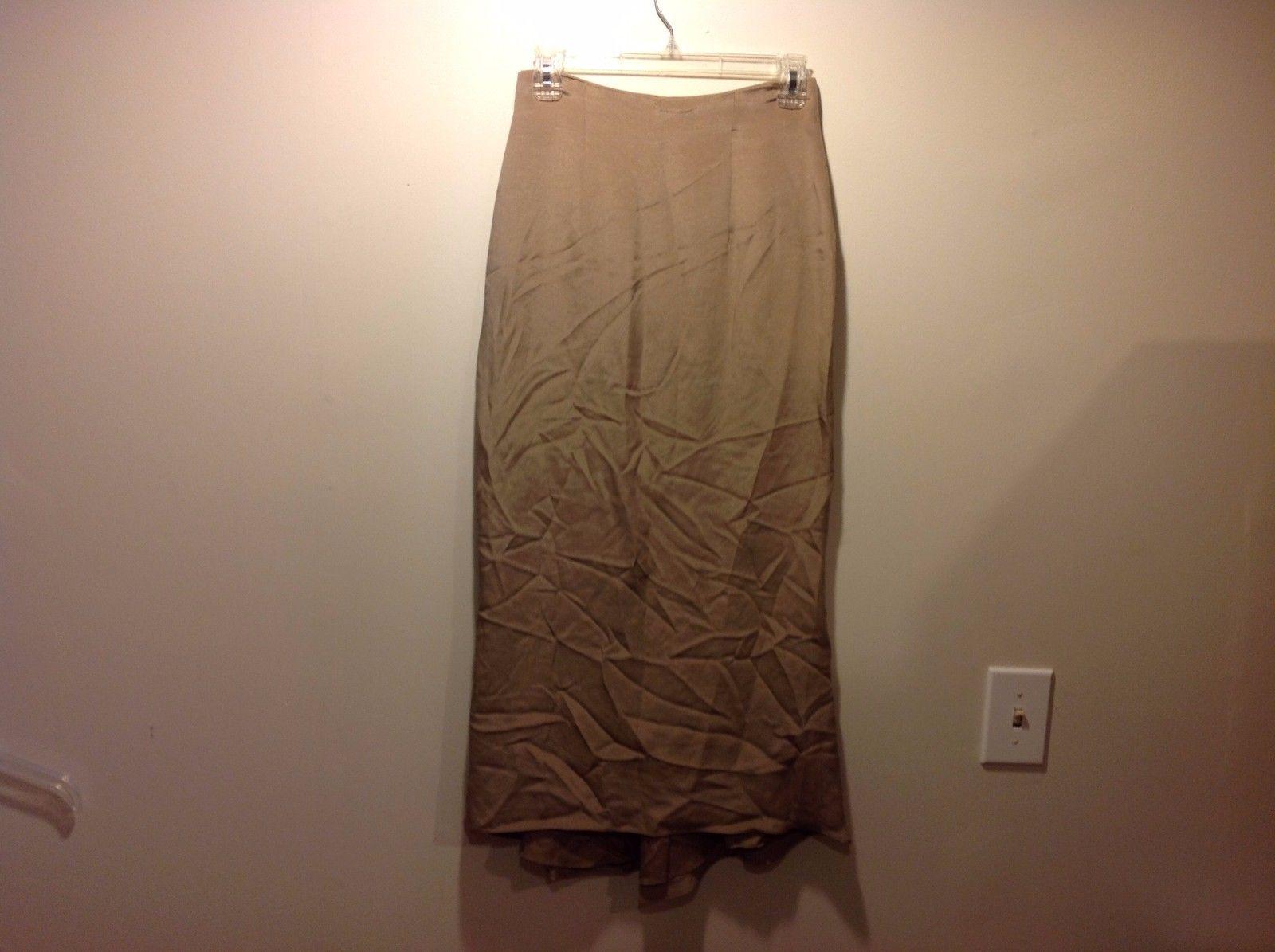 VIE by Victoria Royal 100% Silk Flowy Golden Long Skirt Sz 2P