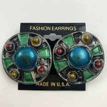 Vintage Big Round Plastic Pierced Earrings Unusual Blue Green Red Bold NOS - $11.84