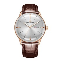Reef Tiger Luxury Dress Watches Date Day Rose Gold Convex Lens Automatic... - $216.46