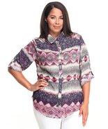 Plus size button down 3/4 sleeve blouse - $13.99