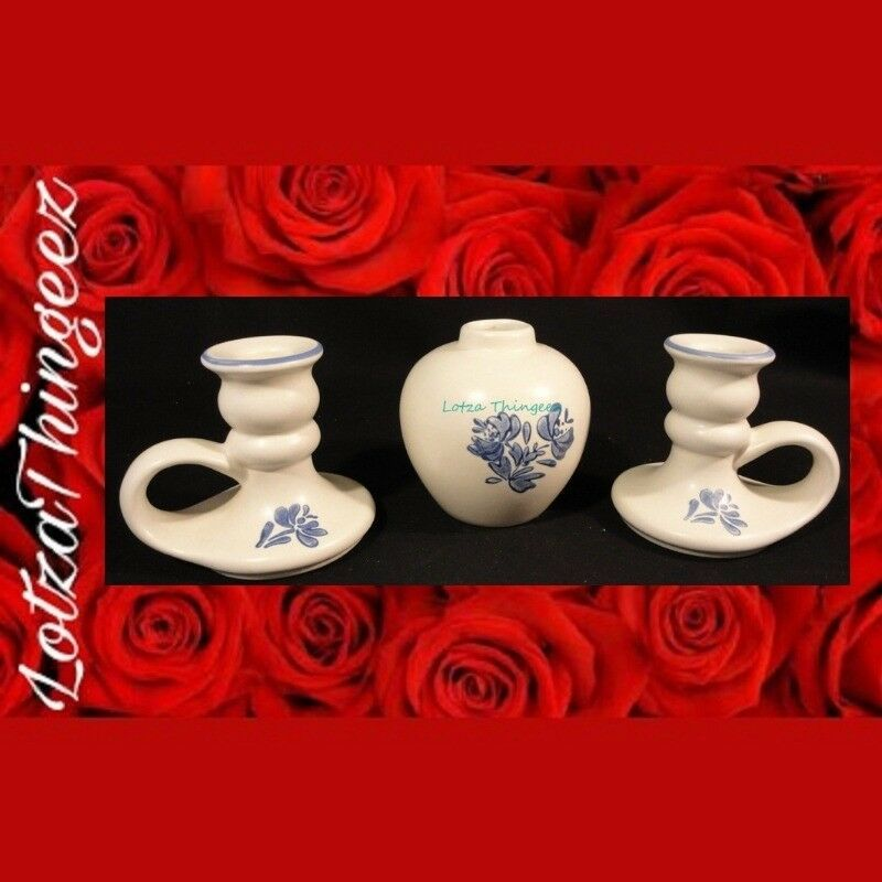 Pfaltzgraff Yorktowne Blue Potpourri or Bud Vase & 2 Candle Stick Holders