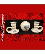 Pfaltzgraff Yorktowne Blue Potpourri or Bud Vase & 2 Candle Stick Holders - $18.80