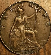 1924 UK GB GREAT BRITAIN ONE FARTHING - $2.94