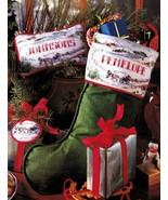 Cross Stitch Sleigh Ride Ice Skaters Xmas Stocking Tree Skirt Wreath Pat... - $9.99
