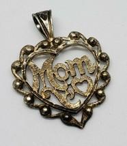 Sterling Silver Mom Heart Ornate Pendant 925 Vintage - $20.00