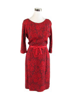 Red gray floral print 3/4 sleeve vintage day dress 12 S - $59.99