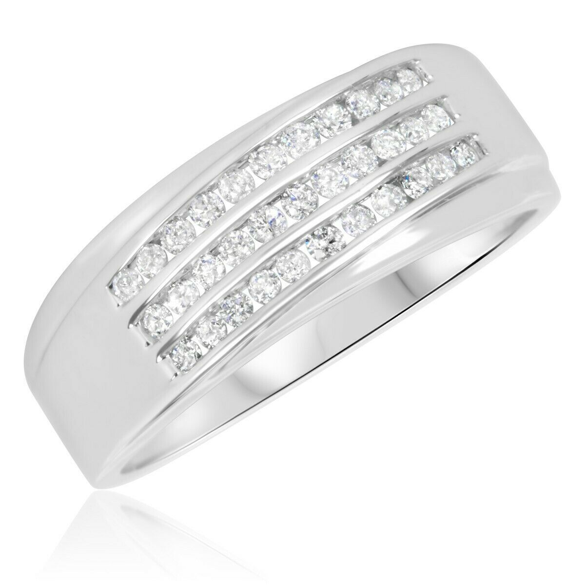 Mens Wedding Engagement Diamond Ring Band 14k White Gold Finish 925 Solid Silver - £69.04 GBP
