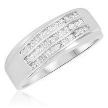 Mens Wedding Engagement Diamond Ring Band 14k White Gold Finish 925 Soli... - $79.97