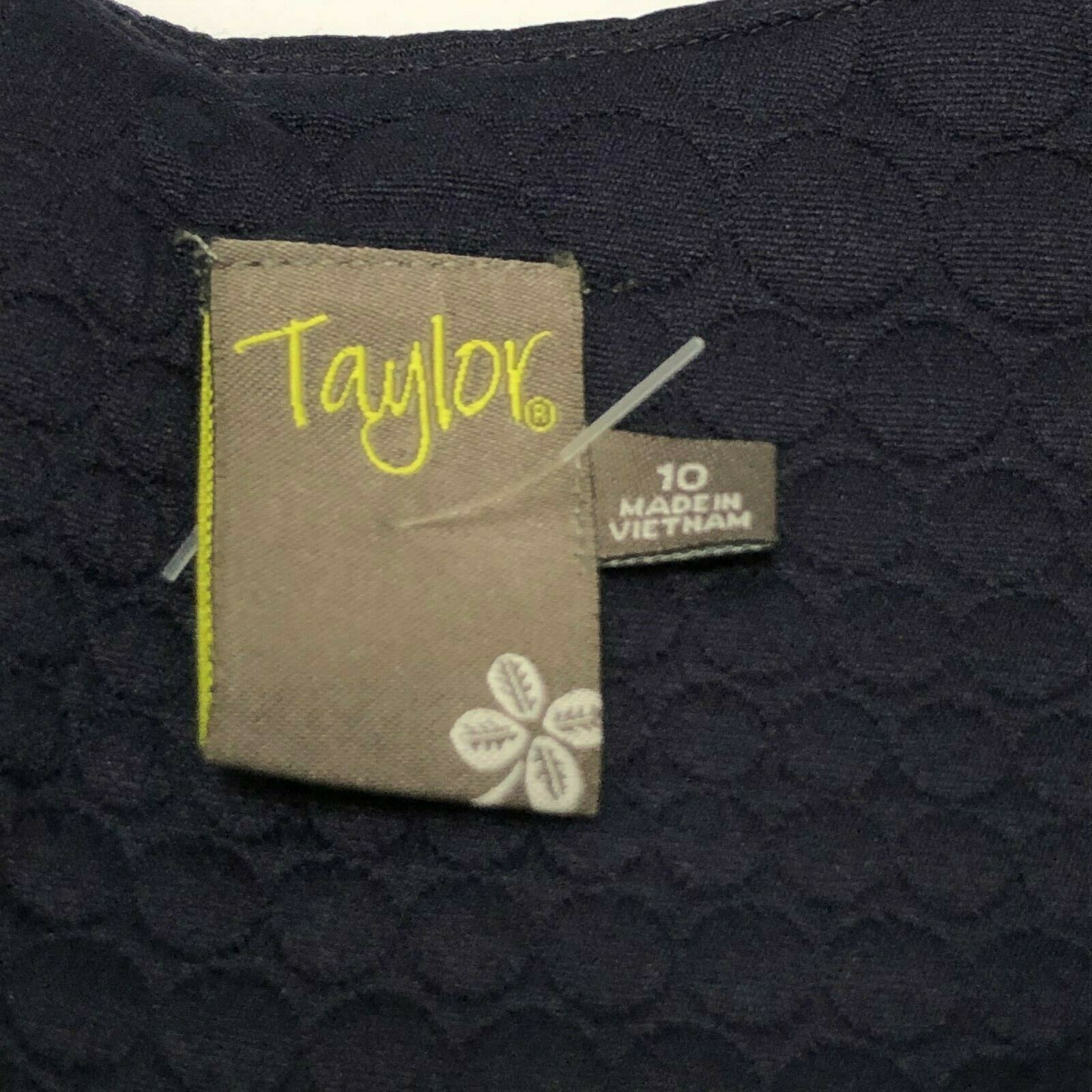 Taylor Fit and Flare Jacquard Dress Womens Size 10 Navy Blue Sleeveless NEW